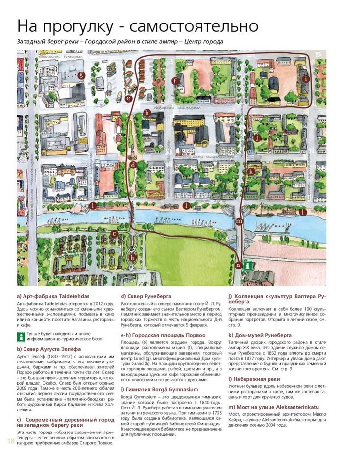 Маршрут прогулки по Порвоо, карта с достопримечательностями