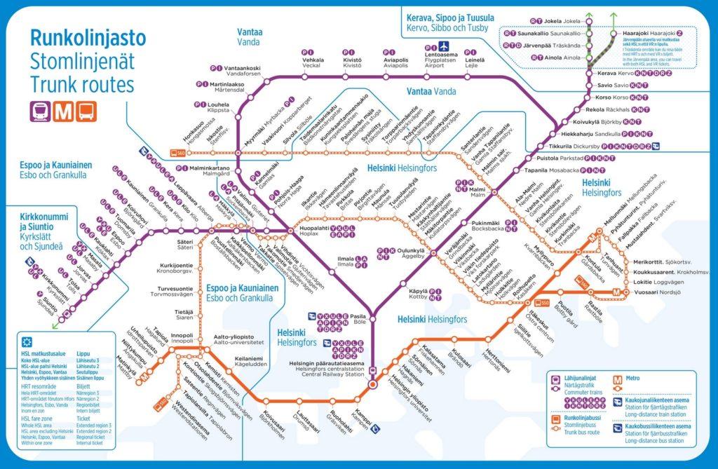 Маршруты общественного транспорта Хельсинки на карте