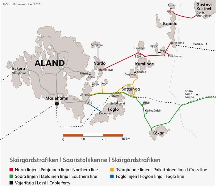 Карта паромных маршрутов Аландских островов, Финляндия