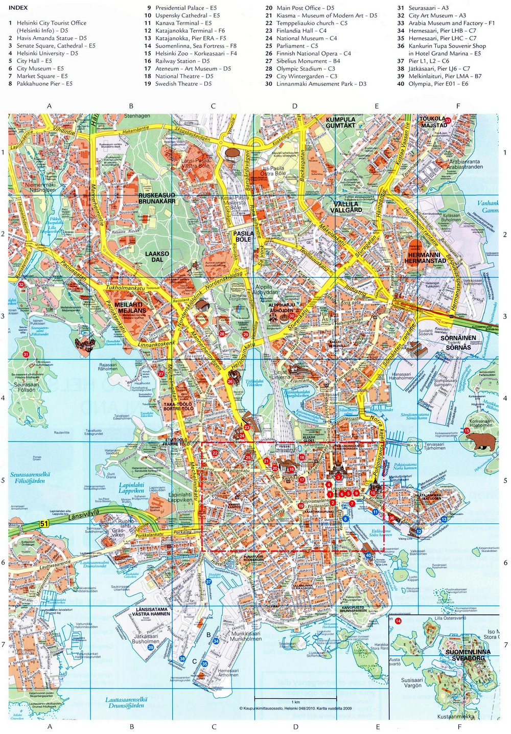 Туристическая карта Хельсинки с достопримечательностями