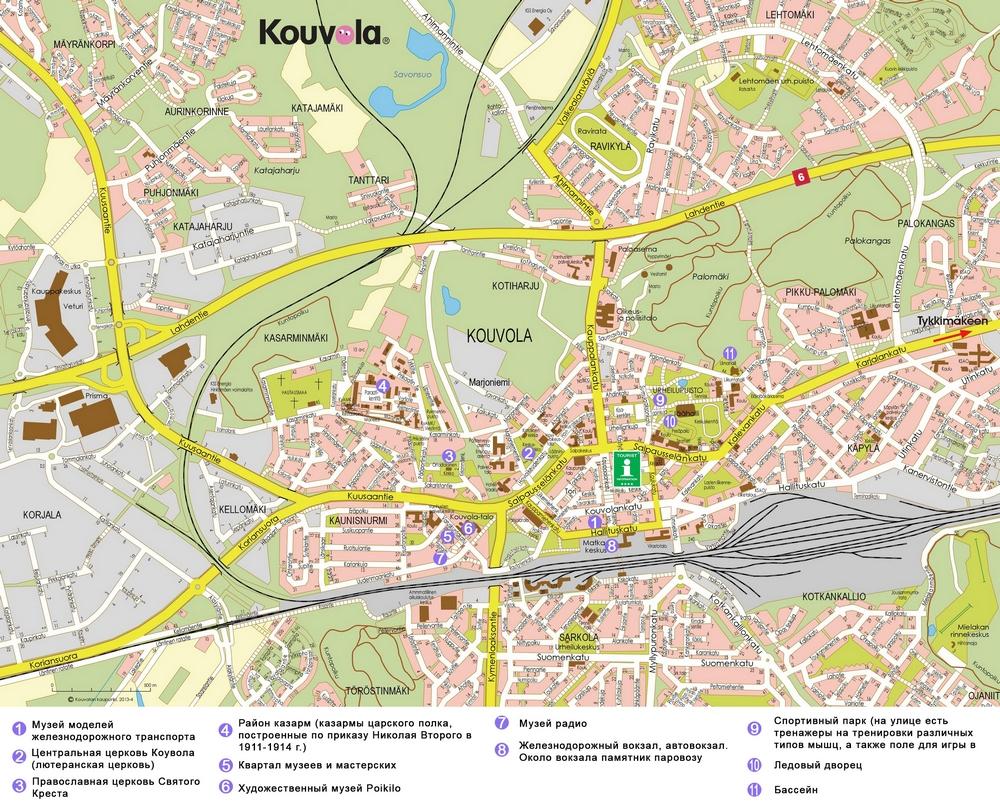 Карта Коувола с достопримечательностями на русском языке