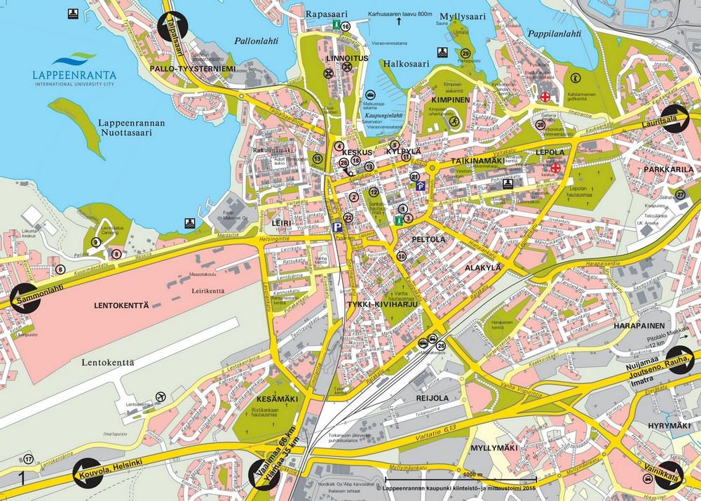 Карта Лаппеенранты с достопримечательностями и развлечениями