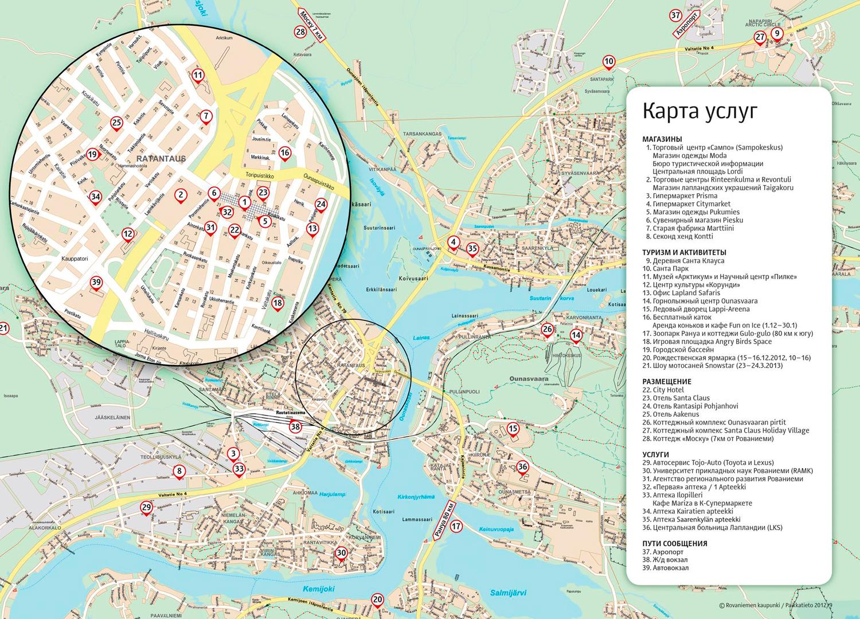 Карта Рованием на русском языке, Финляндия