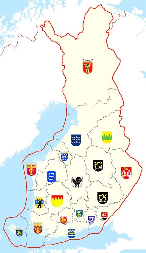 Гербы исторических областей Финляндии
