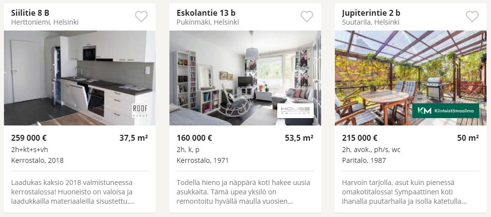 Объявления о продаже недвижимости на финском сайте, предложения в Хельсинки