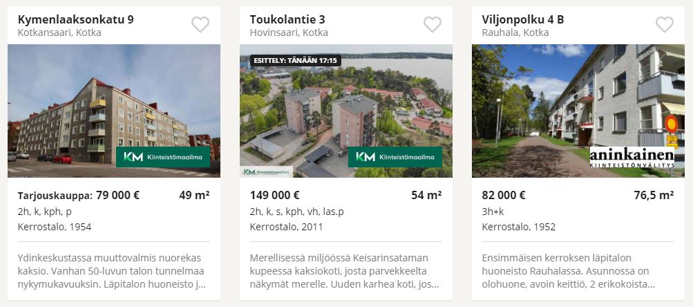 Объявления о продаже недвижимости на финском сайте, предложения в Котке