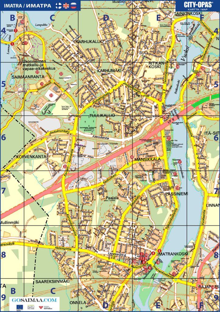 Карта Иматры с достопримечательностями на русском языке