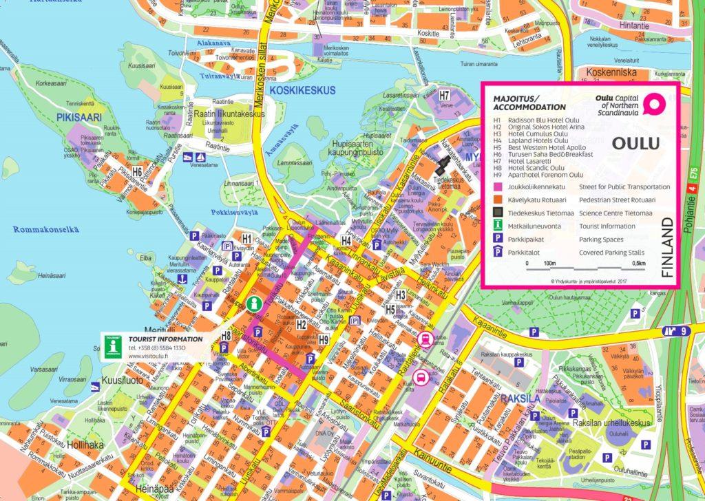 Подробная карта Оулу с названиями улиц и номерами домов
