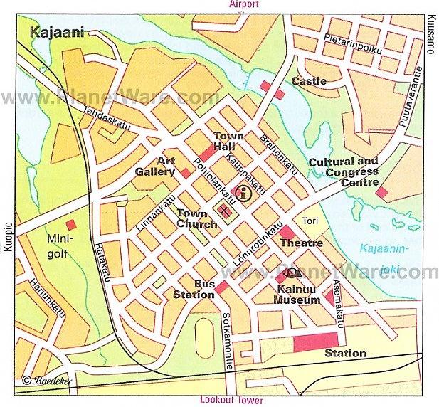 Достопримечательности Каяани на карте