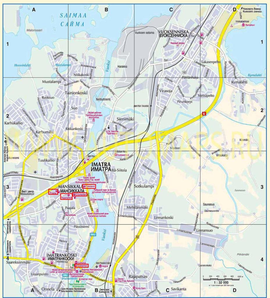Подробная карта Иматры на русском языке