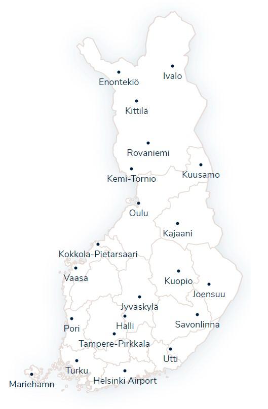 Аэропорты Финляндии на карте